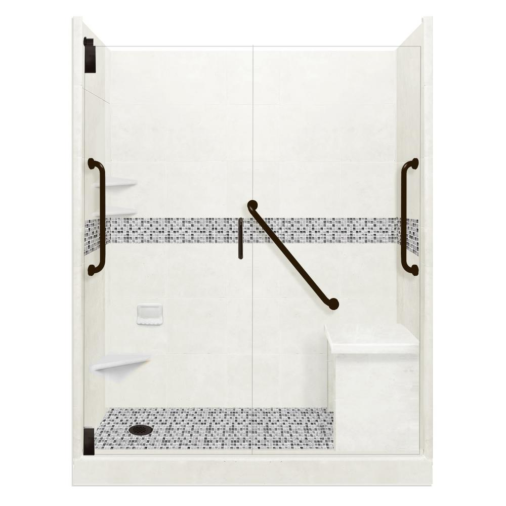 American Bath Factory Del Mar Freedom Grand Hinged 36 in. x 60 in. x 80 in. Left Drain Alcove Shower Kit in Natural Buff and Black Pipe