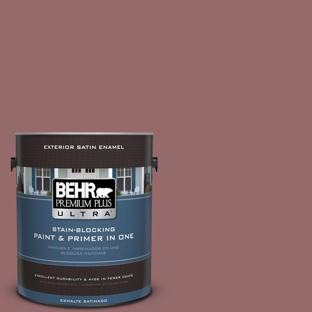 BEHR Premium Plus Ultra 1-gal. #140F-5 Clay Ridge Satin Enamel Exterior Paint