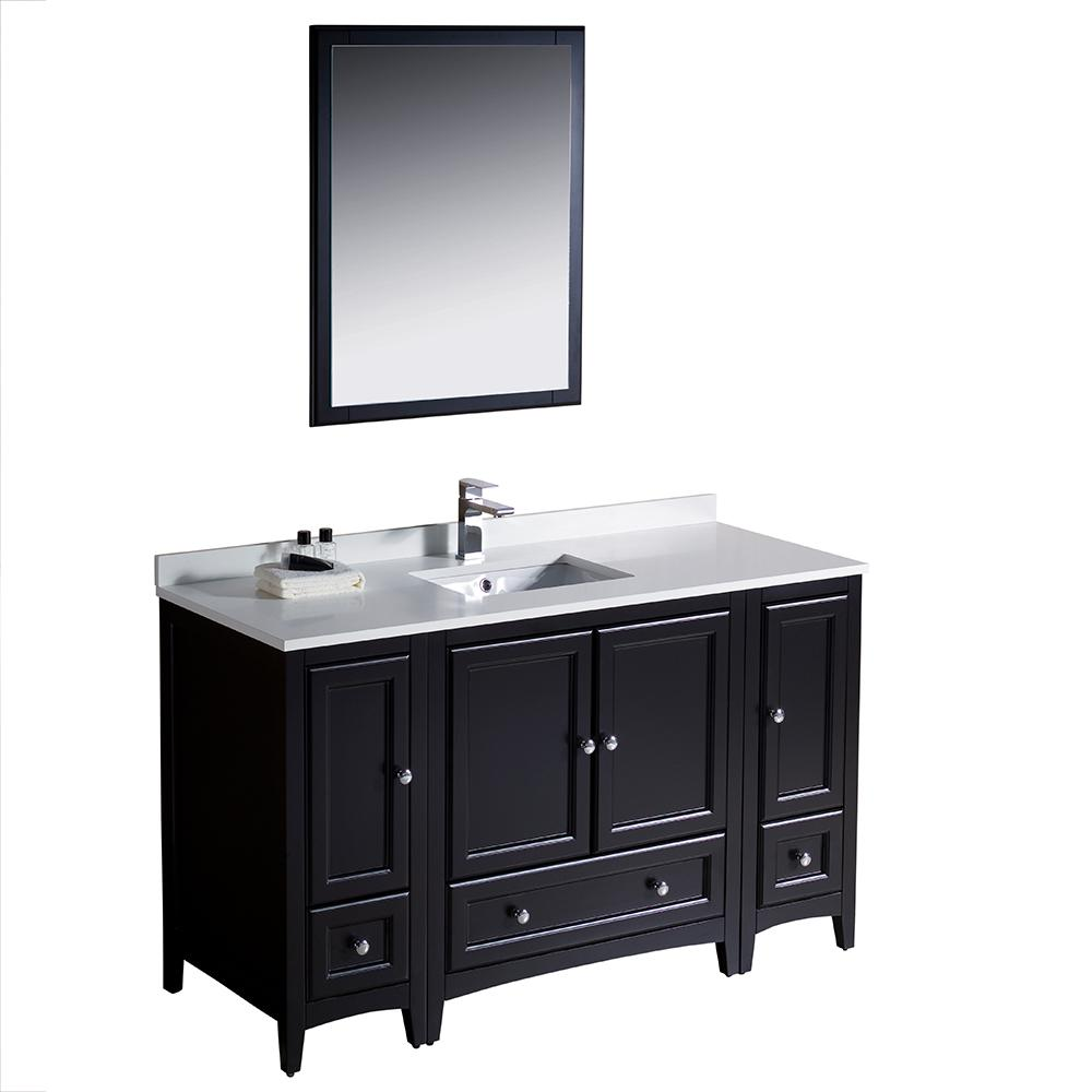Fresca Warwick 54 in. Bathroom Vanity in Espresso with Quartz Stone Vanity Top in White with White Basin and Mirror