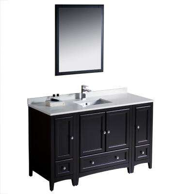 Warwick 54 in. Bathroom Vanity in Espresso with Quartz Stone Vanity Top in White with White Basin and Mirror