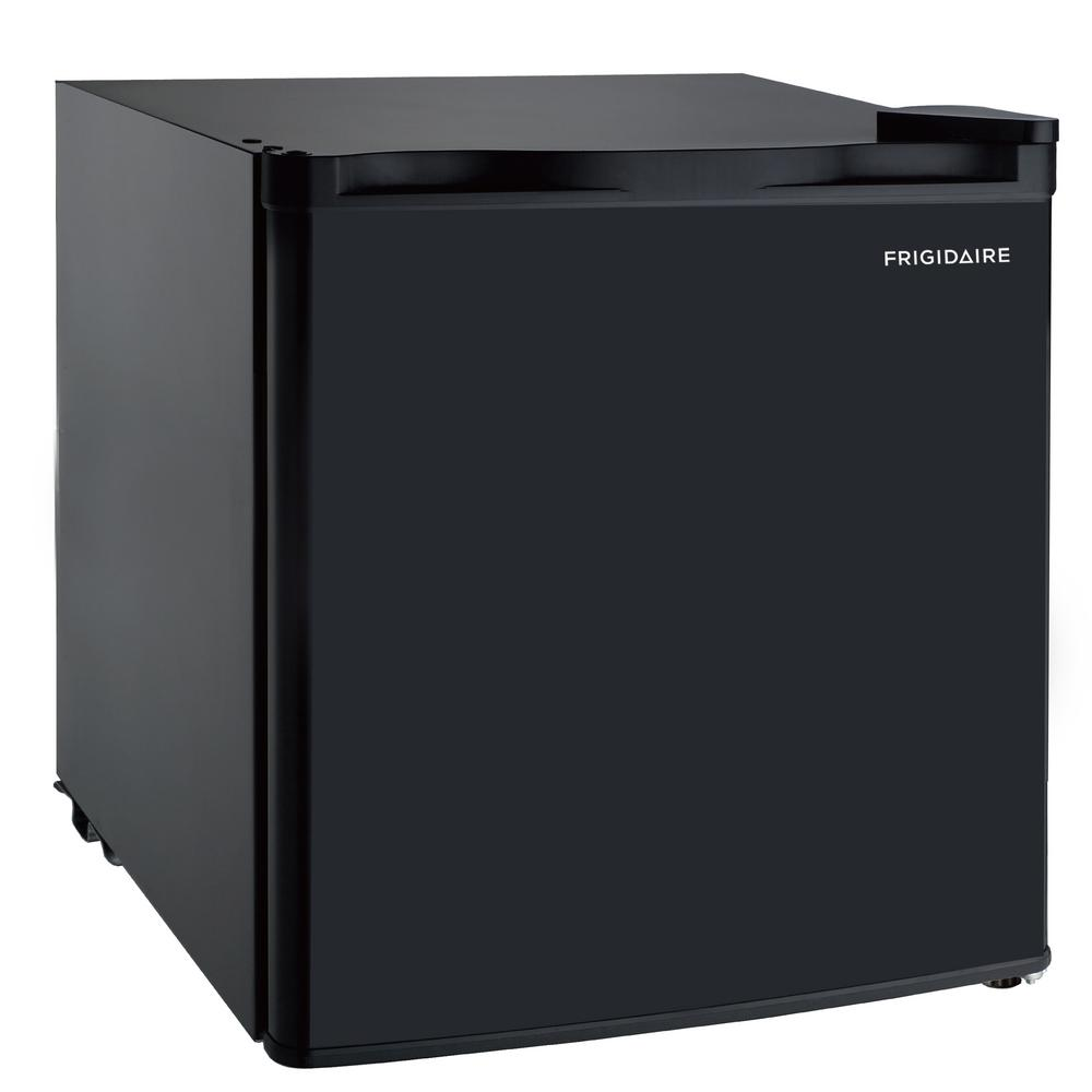 Frigidaire 1.6 cu. ft. Mini Fridge in Black The 1.6 cu. ft. Mini Refrigerator is roomy enough for your groceries but small and sleek enough to fit almost anywhere. A slide-out shelf provides efficient storage options and adds to its unique style. Designed for energy efficiency, this mini fridge includes an ice cube chamber and features a reversible door that can be set up to open from either the left or right side. The flush-back design and invisible door handle offer a clean and elegant appearance that looks great in your home, in a dorm or at the office. Color: Black.