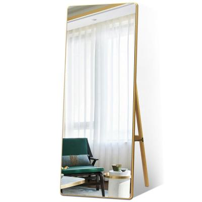 65 in. x 22 in. Modern Style Rectangle Mirror Framed Gold Curved Edge Standing Mirror Full Length