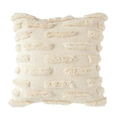 White Fringe Embroidered 20 in. x 20 in. Throw Pillow