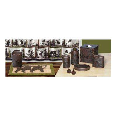 Rustic Montage 6-Piece Polyresin Bath Accessory Collection in Nature Brown