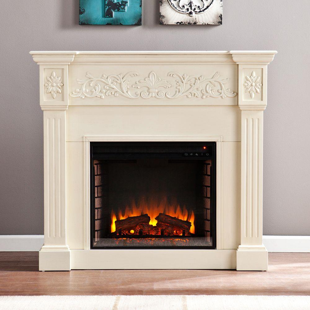 Southern Enterprises Michael 44.5 In. Freestanding Carved Electric Fireplace  In Ivory