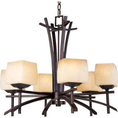 Asiana 6-Light Roasted Chestnut Chandelier