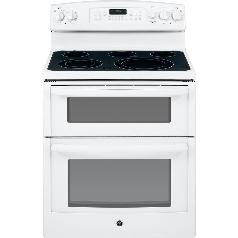 GE 6.6 cu. ft. Double Oven Electric Range with Self-Cleaning Ovens in White