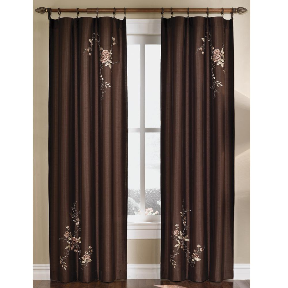 Curtainworks Semi-Opaque Chocolate (Brown) Asia Faux Silk...
