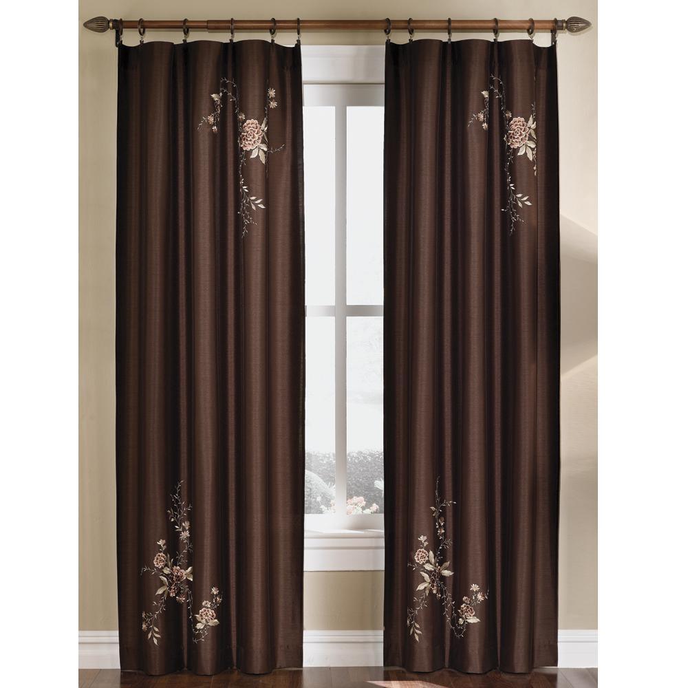 semiopaque chocolate asia faux silk rod pocket curtain 44 in