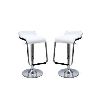 Sophisticated Horatio White Barstool with a Hanging Footrest (Set of 2)