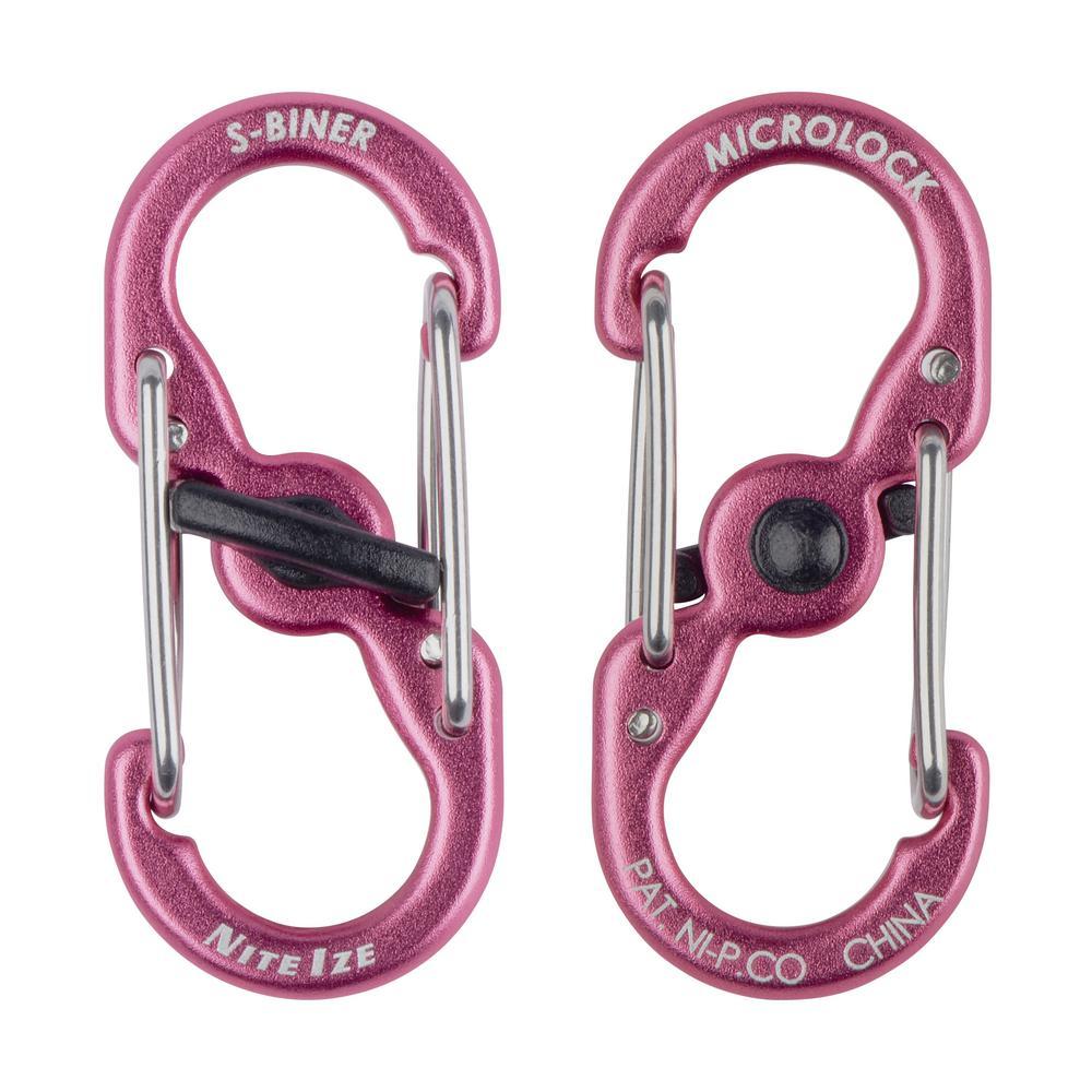 S-Biner TagLock Aluminum in Pink (2-Pack)