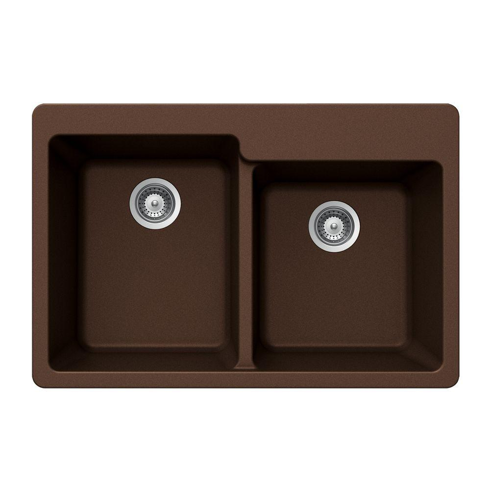 HOUZER Madison Series Drop-In Granite 33x22x9.5 0-hole Double Basin Kitchen Sink in Copper-DISCONTINUED