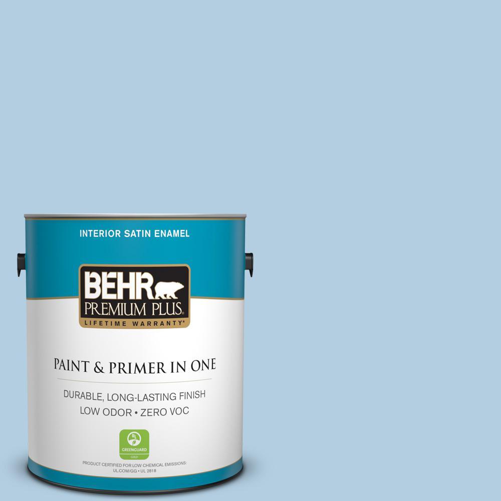 1 gal. #PPU14-14 Crystal Waters Zero VOC Satin Enamel Interior Paint