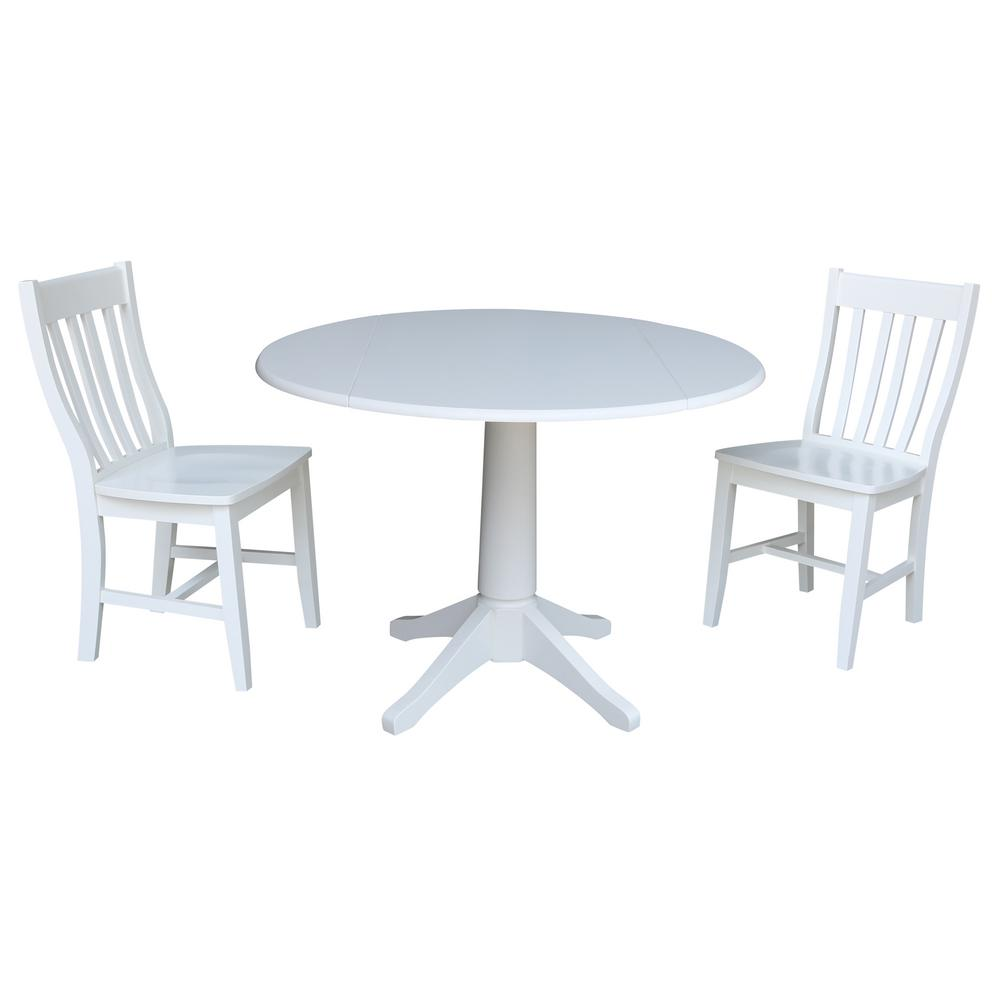 International Concepts Olivia 3 Piece White Drop Leaf Dining Set