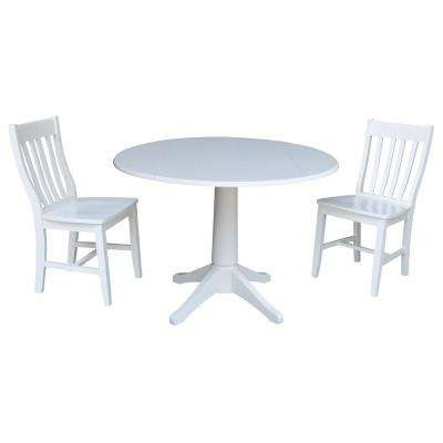 Olivia 3-Piece White Drop-leaf Dining Set with 2-Caf Chairs