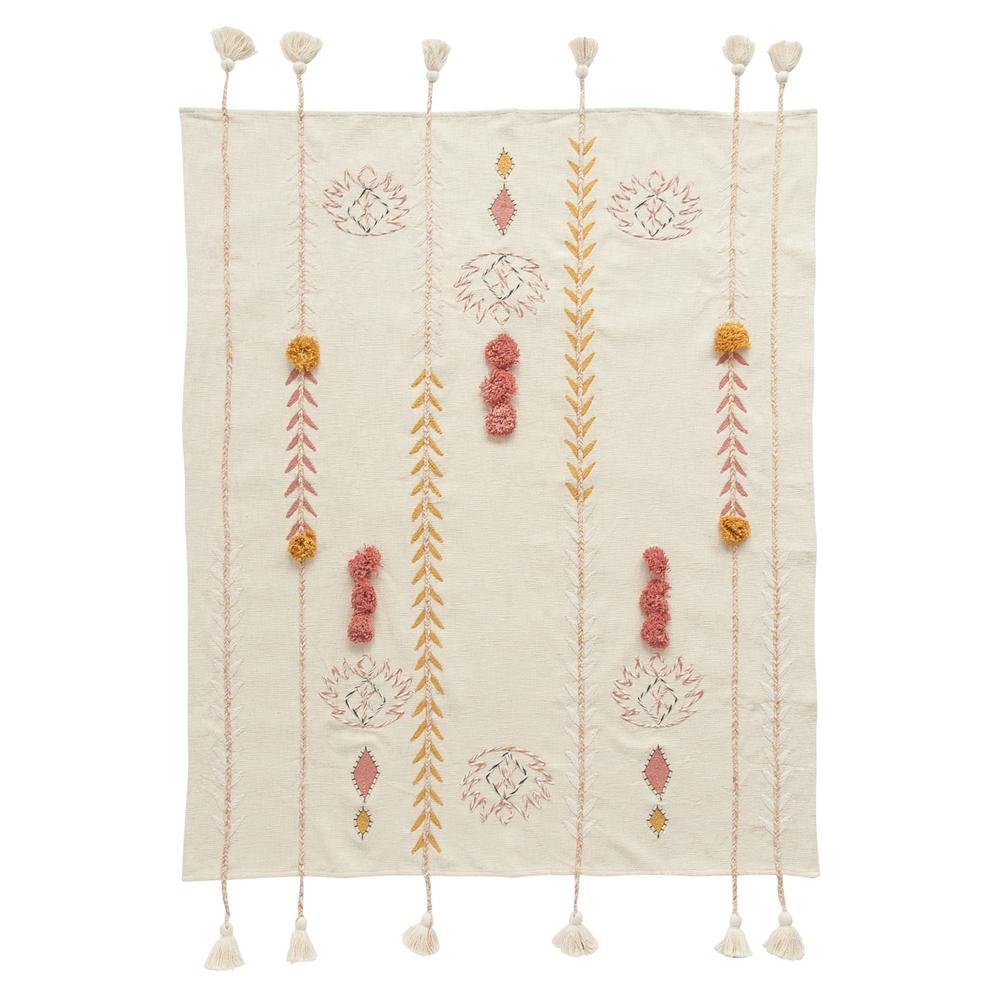 Cream Cotton Throw with Decorative Applique, Pom Poms and Tassels