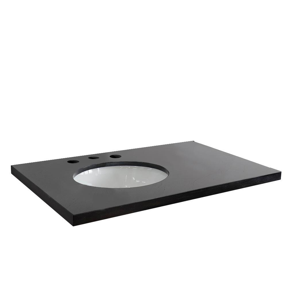 37 in. W x 22 in. D x 2 in. H Black Granite Vanity Top with Left Side Oval Sink