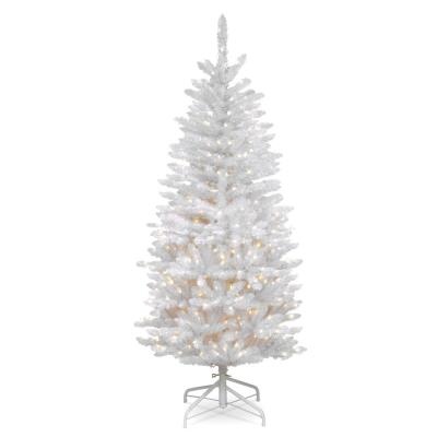 4.5 ft. Kingswood White Fir Pencil Artificial Christmas Tree with Clear Lights
