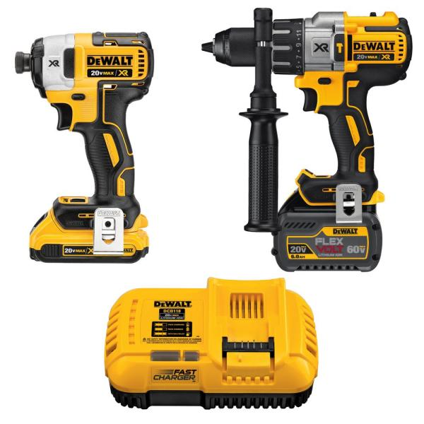 Dewalt 20 Volt Max Lithium Ion Cordless Brushless Combo Kit 2 Tool With Flexvolt And 20 Volt Battery And Charger Dck299d1t1 The Home Depot