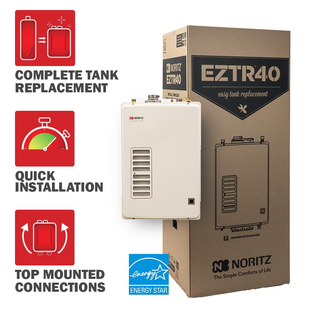 40 Gal. Tank Replacement Natural Gas High Efficiency Indoor Tankless Water