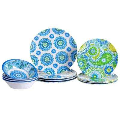 Boho 12-Piece Blue Dinnerware Set
