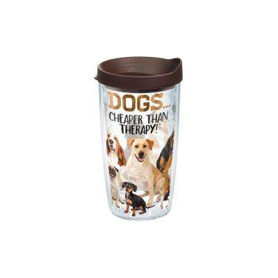 Dog Therapy 16 oz. Clear Tumbler with Lid