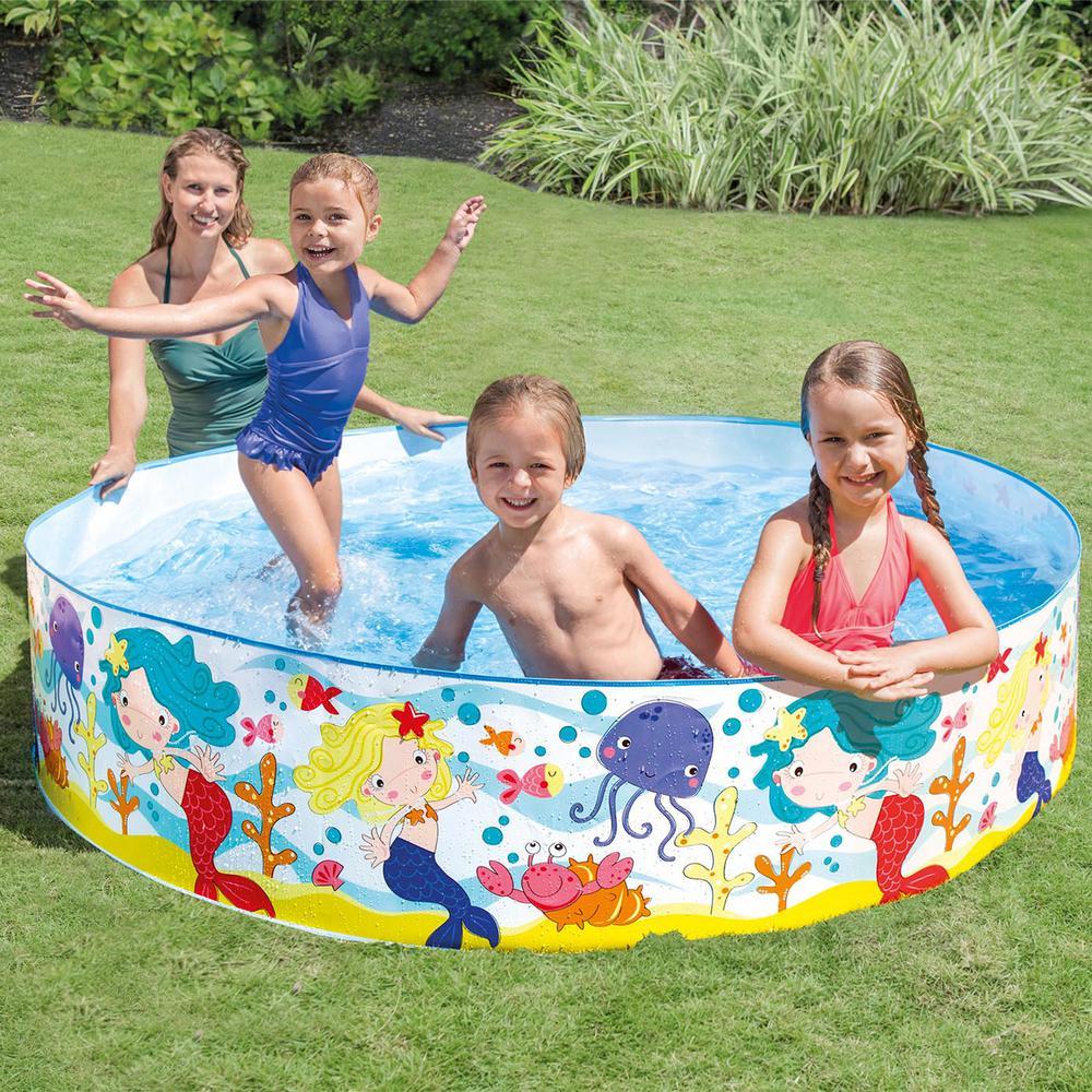 Intex 6 ft. x 15 in. D Round Mermaids By The Sea Instant Kiddie Snap Set Pool