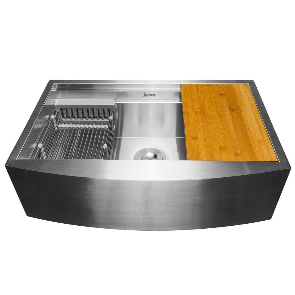 AKDY Handcrafted All-in-One Apron Mount 33 in. x 20 in. x 9 in. Single Bowl Kitchen Sink in Stainless Steel with Accessories