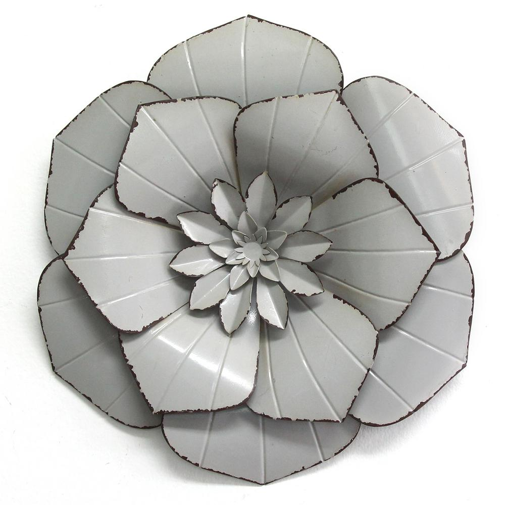 stratton home decor grey metal flower wall decor s15040 the home depot. Black Bedroom Furniture Sets. Home Design Ideas