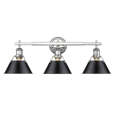 Orwell 3-Light Chrome with Black Shade Bath Vanity Light