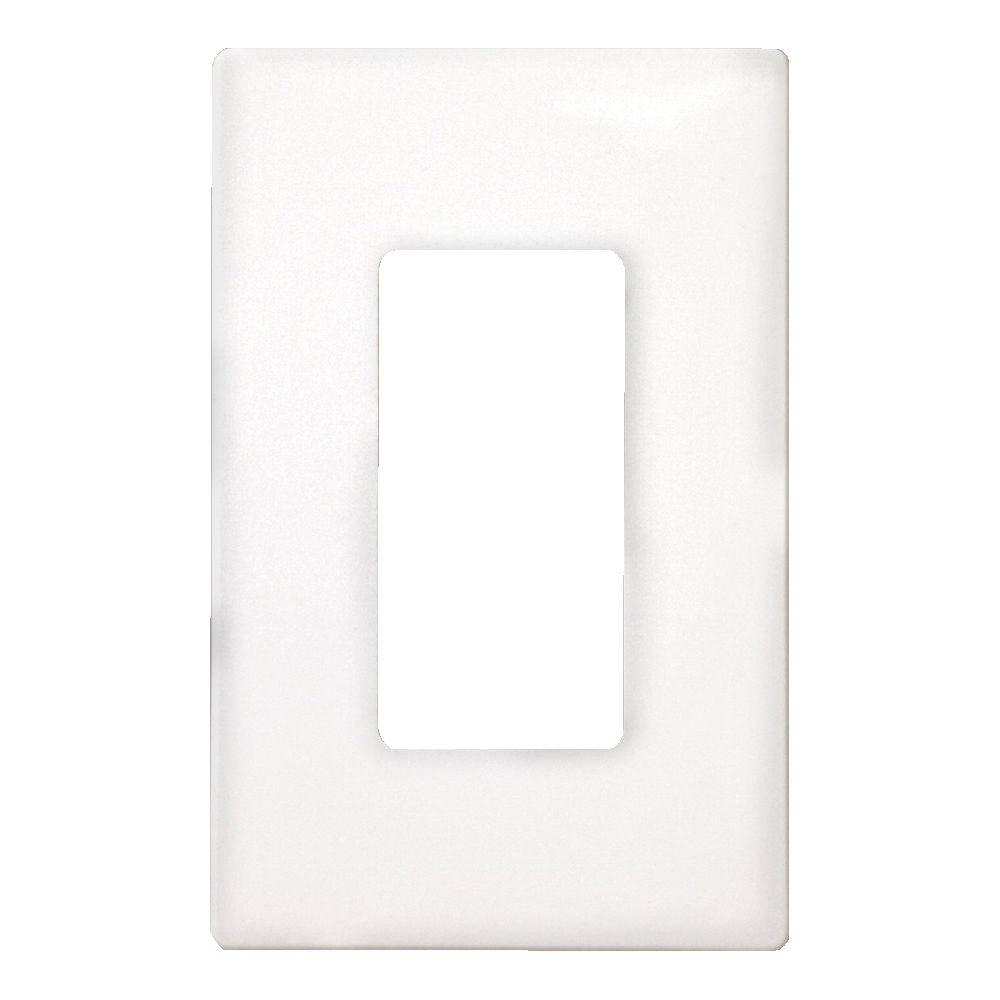 1-Gang Screwless Decorator Polycarbonate Wall Plate - White