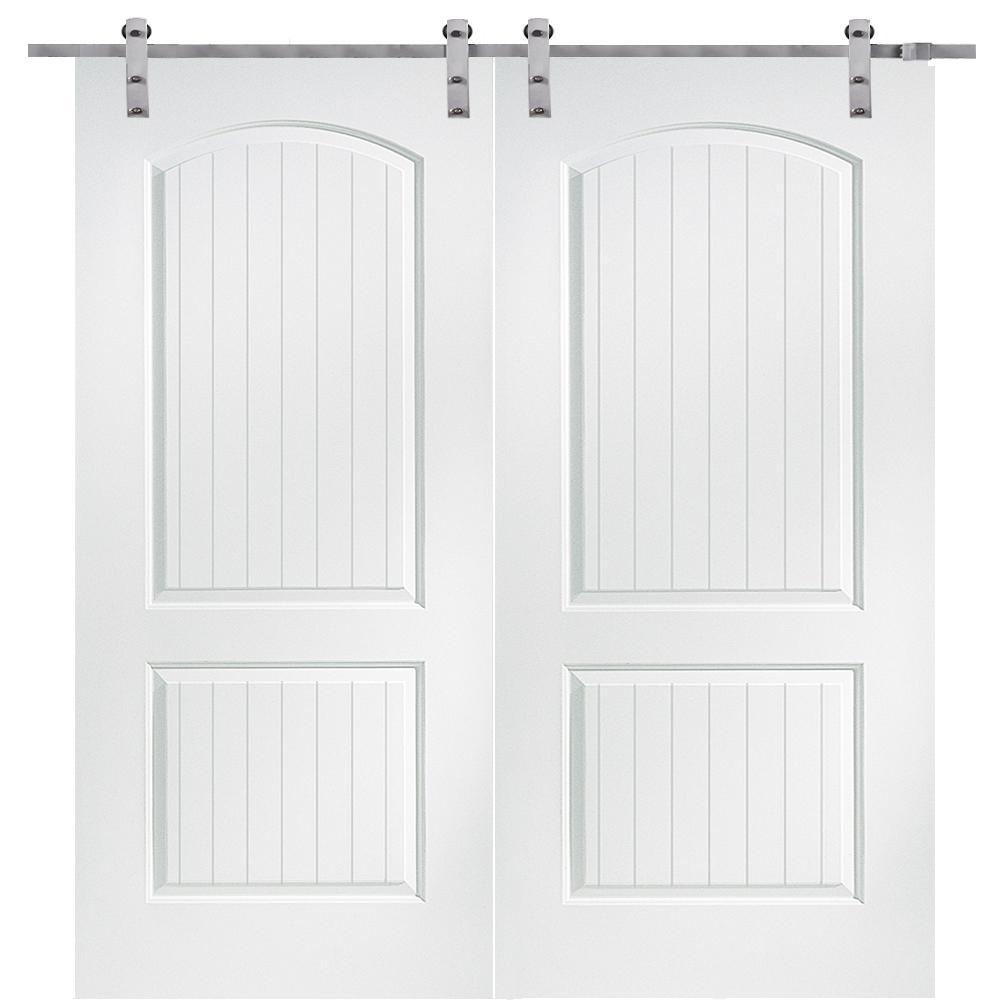 60 in. x 80 in. Primed Molded MDF Cashal Barn Door with Sliding Door Hardware Kit