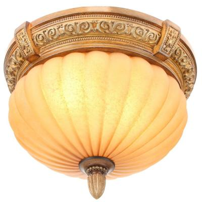 Chateau Deville 14 in.  2-Light Walnut Flush Mount with Champagne Glass Shade