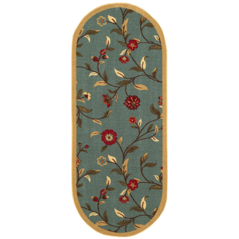 Ottomanson Ottohome Collection Seafoam Floral Design 2 ft. x 5 ft. Oval Area Rug, Green was $19.06 now $13.34 (30.0% off)