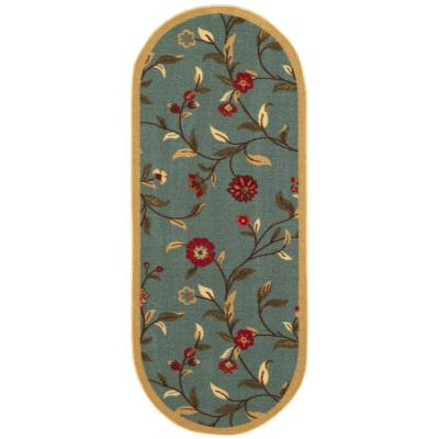 Ottohome Collection Seafoam Floral Design 2 ft. x 5 ft. Oval Area Rug