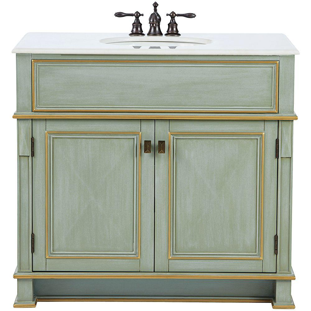Home Decorators Collection Dinsmore 38 in. W Vanity in Gilded Green with Marble Vanity Top in White with White Sink
