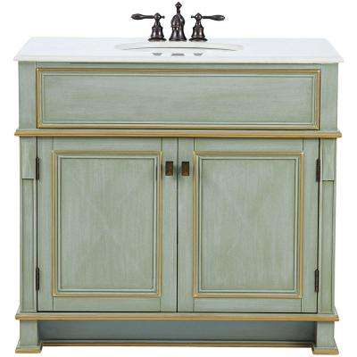 Dinsmore 38 in. W Vanity in Gilded Green with Marble Vanity Top in White with White Sink