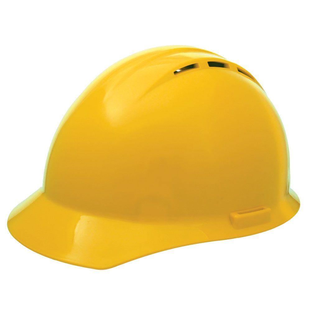 Vent 4 Point Nylon Suspension Mega Ratchet Cap Hard Hat in Yellow