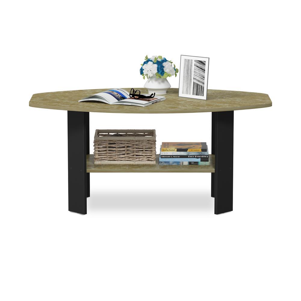 Simple Design Brown Marble/Black Coffee Table
