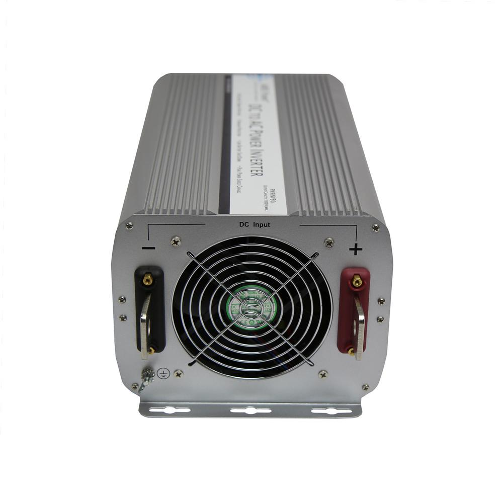 AIMS POWER 5,000-Watt Modified Sine Inverter 12-Volt DC to 120-Volt The AIMS POWER 5000-Watt modified sine wave power inverter 12-Volt DC. This inverter is packed with power but still small enough to fit in small spaces. This inverter is capable of providing up to 41.6 Amp AC, which is perfect for larger pumps, tools, compressors and refrigerators/freezers. Includes volt and Amp meter, optional remote, AC direct connect terminal block and 4 AC receptacles. This is a great whole-house inverter or large RV or toy hauler inverter.