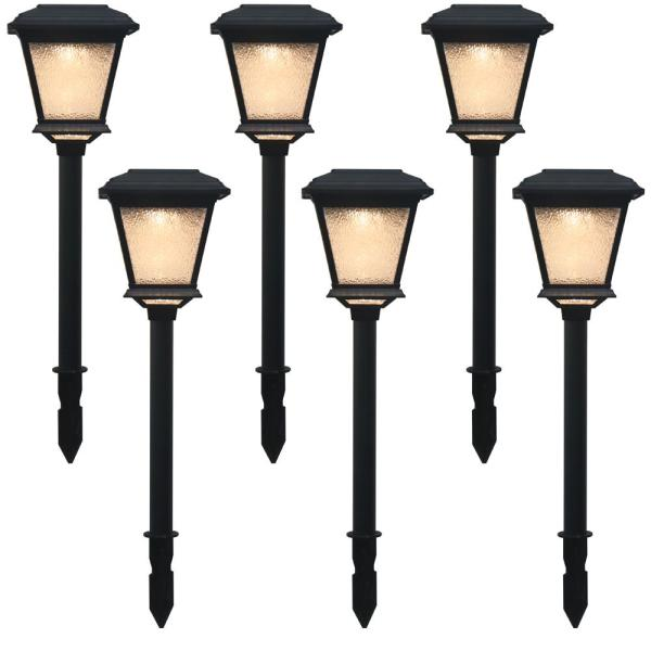 Solar 0.2-Watt Black Outdoor Landscape LED Path Light (6-Pack)