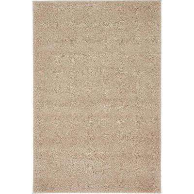 Solid Shag Taupe 4 ft. x 6 ft. Area Rug
