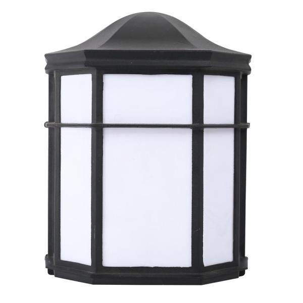 2-Light Black Sconce with White Specialty Acrylic Shade