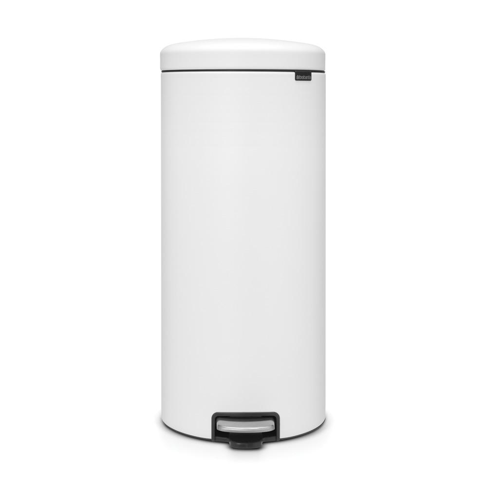 8 Gal. Steel Step-On Trash Can in Mineral White