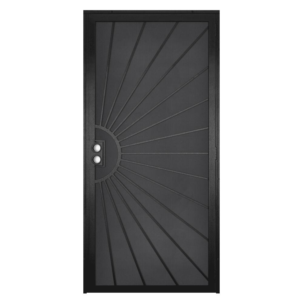 Unique Home Designs 36 in. x 80 in. Solana Black Surface Mount Outswing Steel Security Door with Perforated Metal Screen