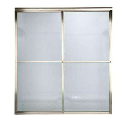 Prestige 72 in. x 58-1/2 in. Height Framed Sliding Shower Door in Brushed Nickel with Hammered Glass