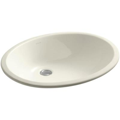 Caxton Vitreous China Undermount Bathroom Sink with Glazed Underside in Biscuit with Overflow Drain