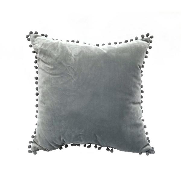 Pompom Gray Solid Polyester 18 in. x 18 in. Throw Pillow