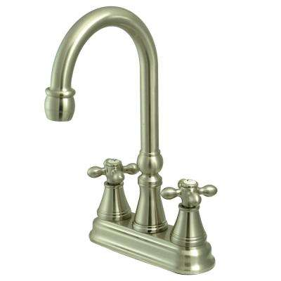 Classic 2-Handle Bar Faucet with Solid Handles in Satin Nickel