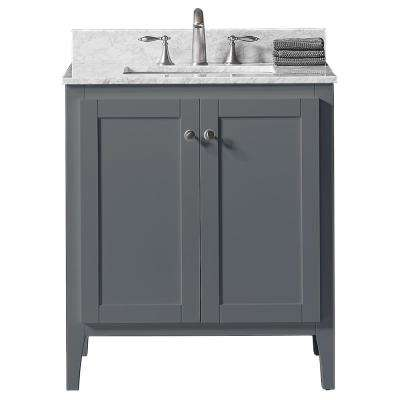 30 in. W x 22.4 in. D x 34.2 in. H Bath Vanity in Cashmere Grey w/ Carrara Marble Vanity Top in White w/ White Basin